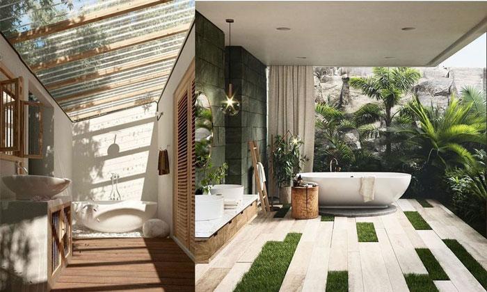"""Những mẫu phòng tắm """"hớ hênh"""" chuẩn xịn cho thiết kế Resort"""